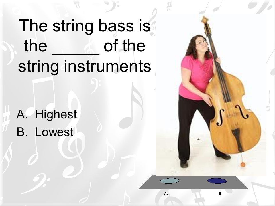 The string bass is the _____ of the string instruments A.Highest B.Lowest