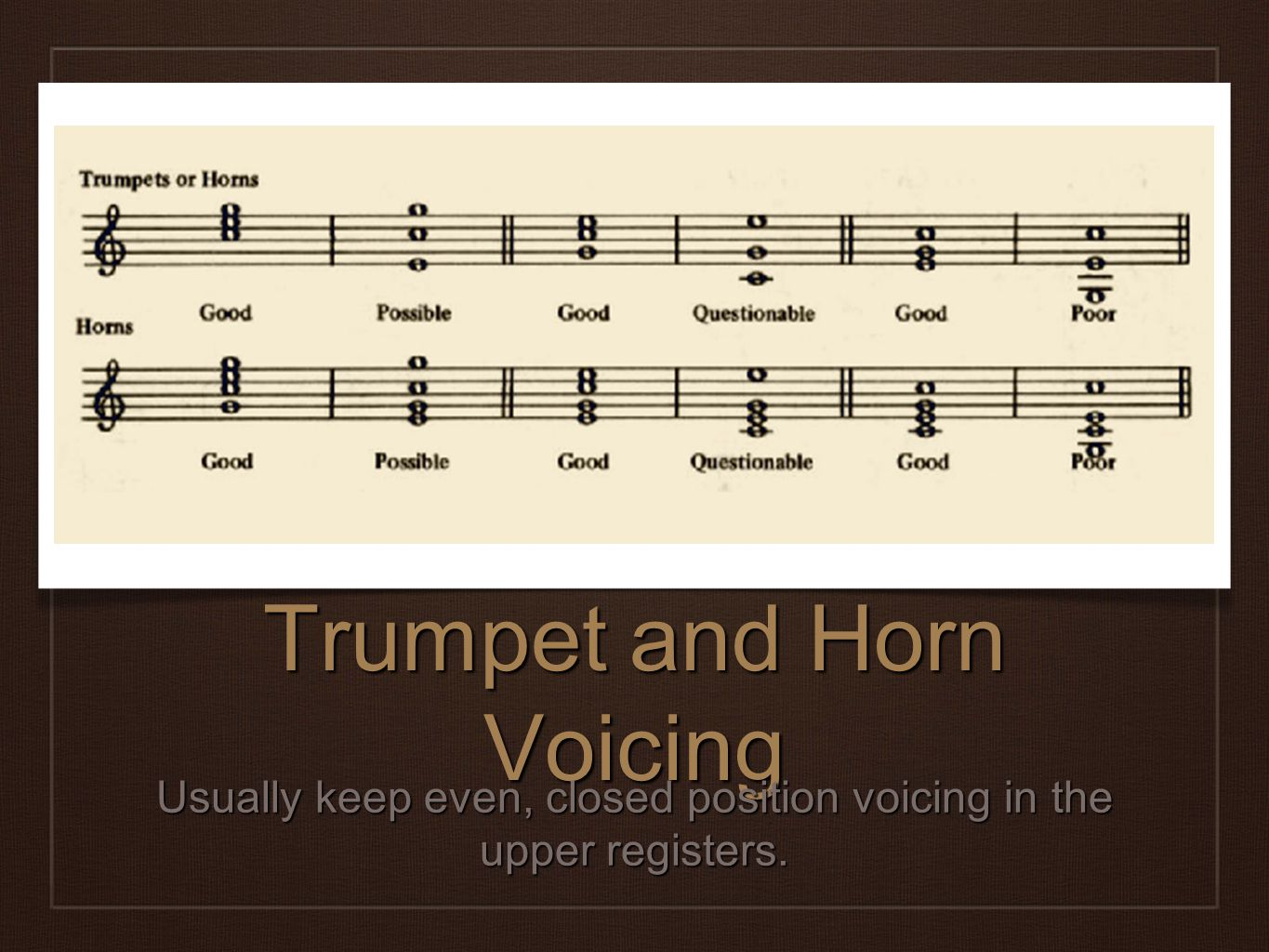 Trumpet and Horn Voicing Usually keep even, closed position voicing in the upper registers.
