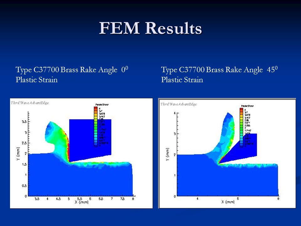 FEM Results Type C37700 Brass Rake Angle 0 0 Plastic Strain Type C37700 Brass Rake Angle 45 0 Plastic Strain