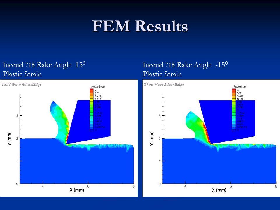 FEM Results Inconel 718 Rake Angle 15 0 Plastic Strain Inconel 718 Rake Angle -15 0 Plastic Strain