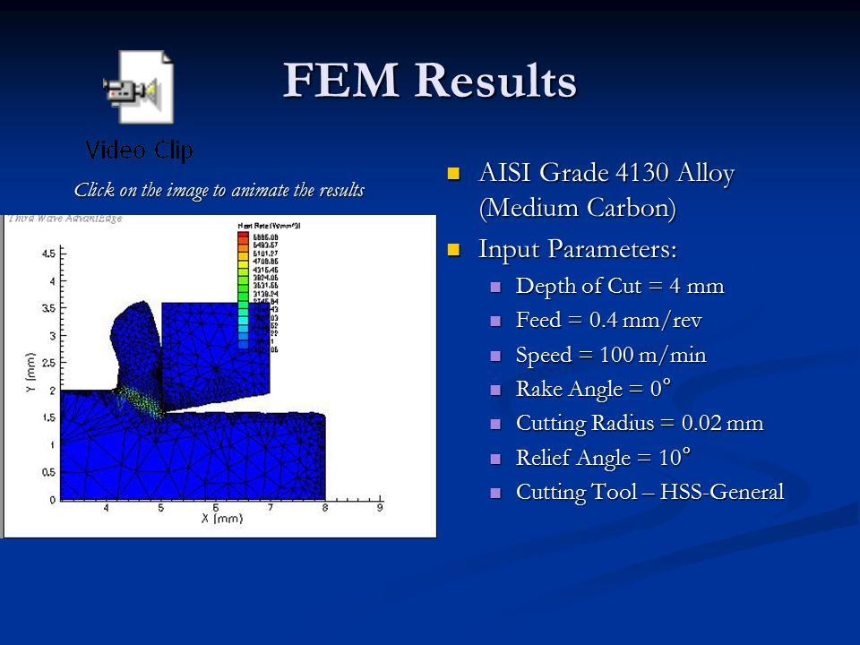 FEM Results AISI Grade 4130 Alloy (Medium Carbon) Input Parameters: Depth of Cut = 4 mm Feed = 0.4 mm/rev Speed = 100 m/min Rake Angle = 0 ° Cutting Radius = 0.02 mm Relief Angle = 10 ° Cutting Tool – HSS-General Click on the image to animate the results