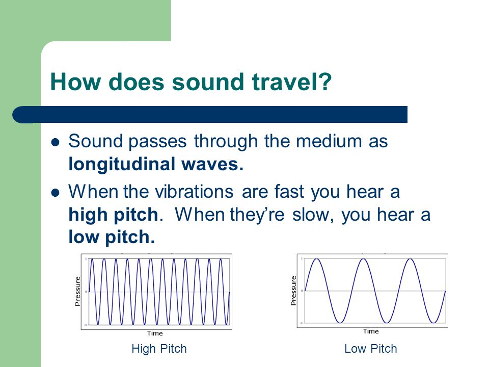 What is pitch. Pitch is how high or how low a sound is.