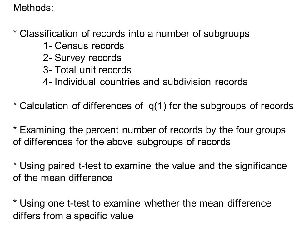 Methods: * Classification of records into a number of subgroups 1- Census records 2- Survey records 3- Total unit records 4- Individual countries and subdivision records * Calculation of differences of q(1) for the subgroups of records * Examining the percent number of records by the four groups of differences for the above subgroups of records * Using paired t-test to examine the value and the significance of the mean difference * Using one t-test to examine whether the mean difference differs from a specific value