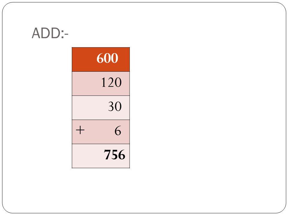 ADD:- 600 120 30 + 6 ???