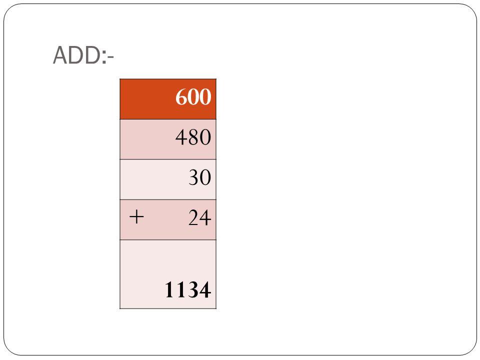 ADD:- 600 480 30 + 24 ????