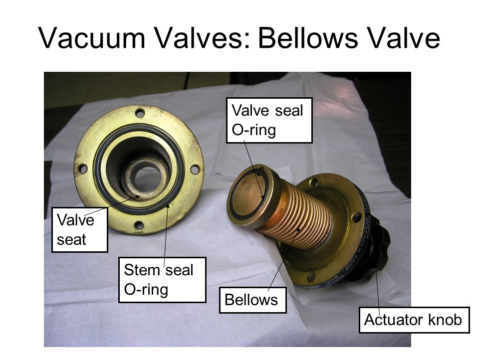 Vacuum Valves: Bellows Valve Valve seal O-ring Actuator knob Bellows Valve seat Stem seal O-ring