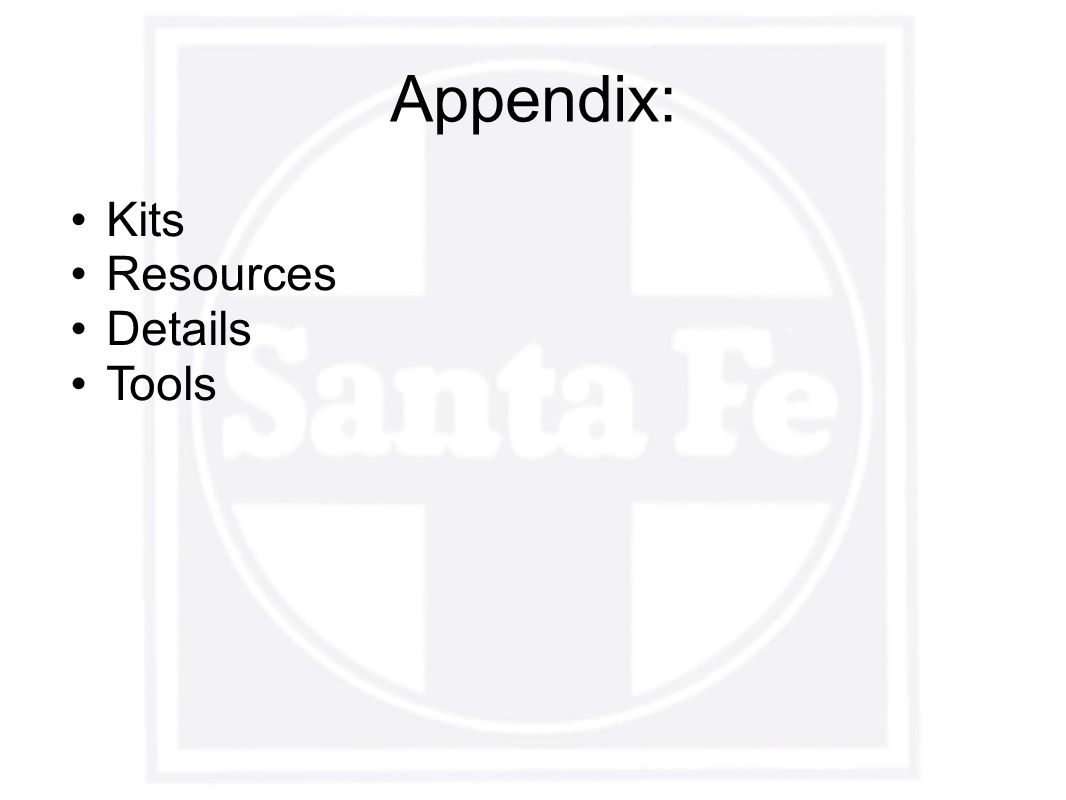 Appendix: Kits Resources Details Tools