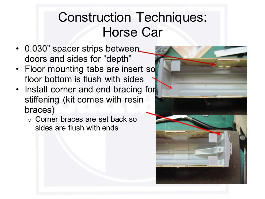 Construction Techniques: Horse Car 0.030 spacer strips between doors and sides for depth Floor mounting tabs are insert so floor bottom is flush with sides Install corner and end bracing for stiffening (kit comes with resin braces) o Corner braces are set back so sides are flush with ends