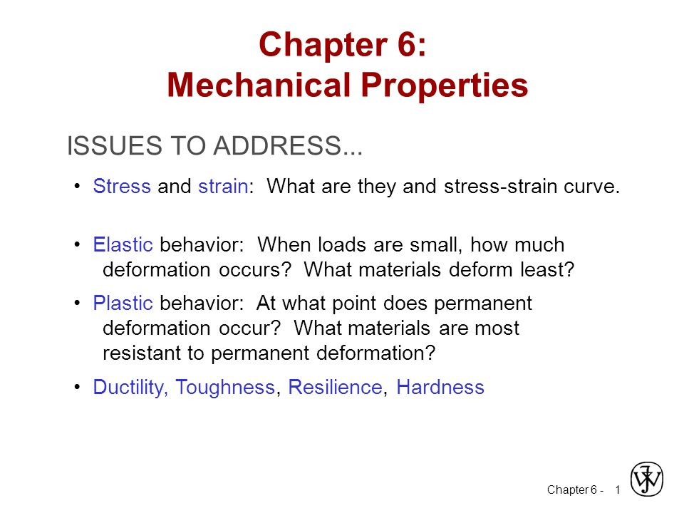 Chapter 6 - 32 Thus, resilient materials are those having high yield strengths and low module of elasticity; such alloys would be used in spring applications.