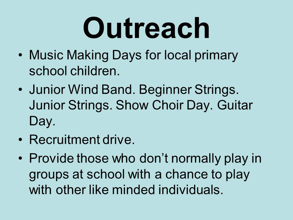 Performing Opportunities.Group concerts Termly Pupils' concerts.