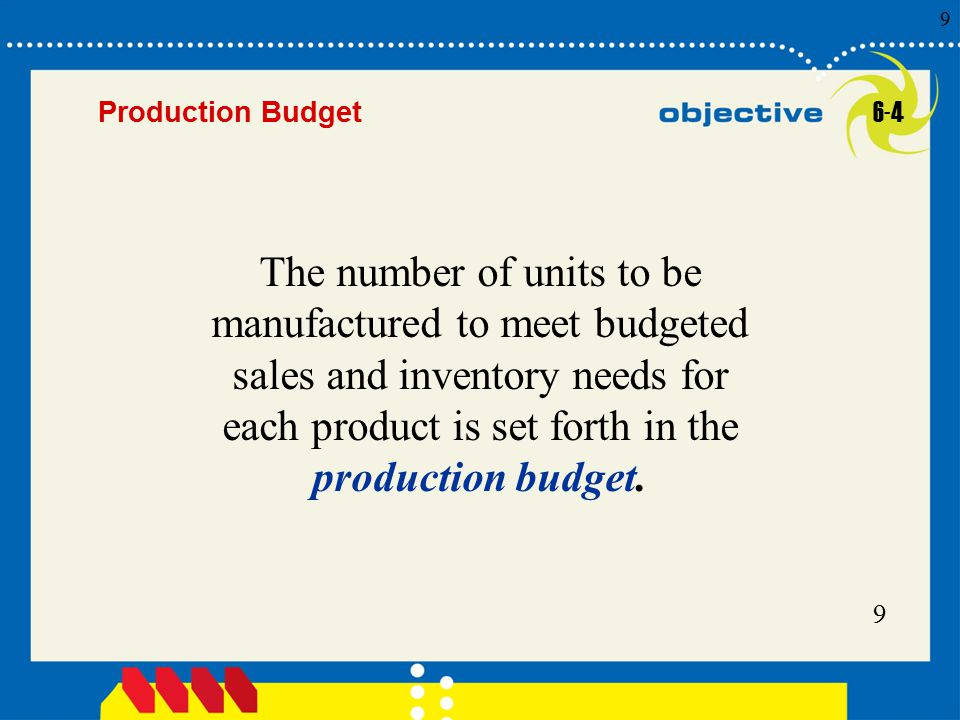 9 Click to edit Master title style 9 9 9 Production Budget The number of units to be manufactured to meet budgeted sales and inventory needs for each