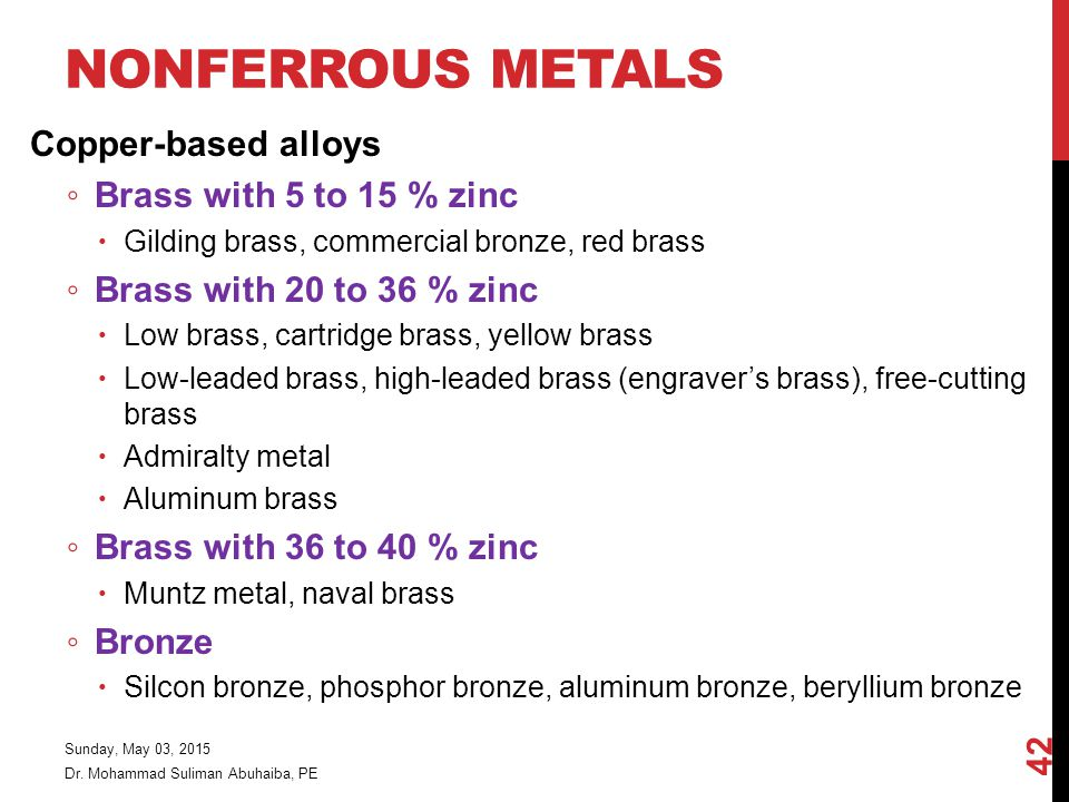 NONFERROUS METALS Copper-based alloys ◦ Brass with 5 to 15 % zinc  Gilding brass, commercial bronze, red brass ◦ Brass with 20 to 36 % zinc  Low brass, cartridge brass, yellow brass  Low-leaded brass, high-leaded brass (engraver's brass), free-cutting brass  Admiralty metal  Aluminum brass ◦ Brass with 36 to 40 % zinc  Muntz metal, naval brass ◦ Bronze  Silcon bronze, phosphor bronze, aluminum bronze, beryllium bronze Dr.