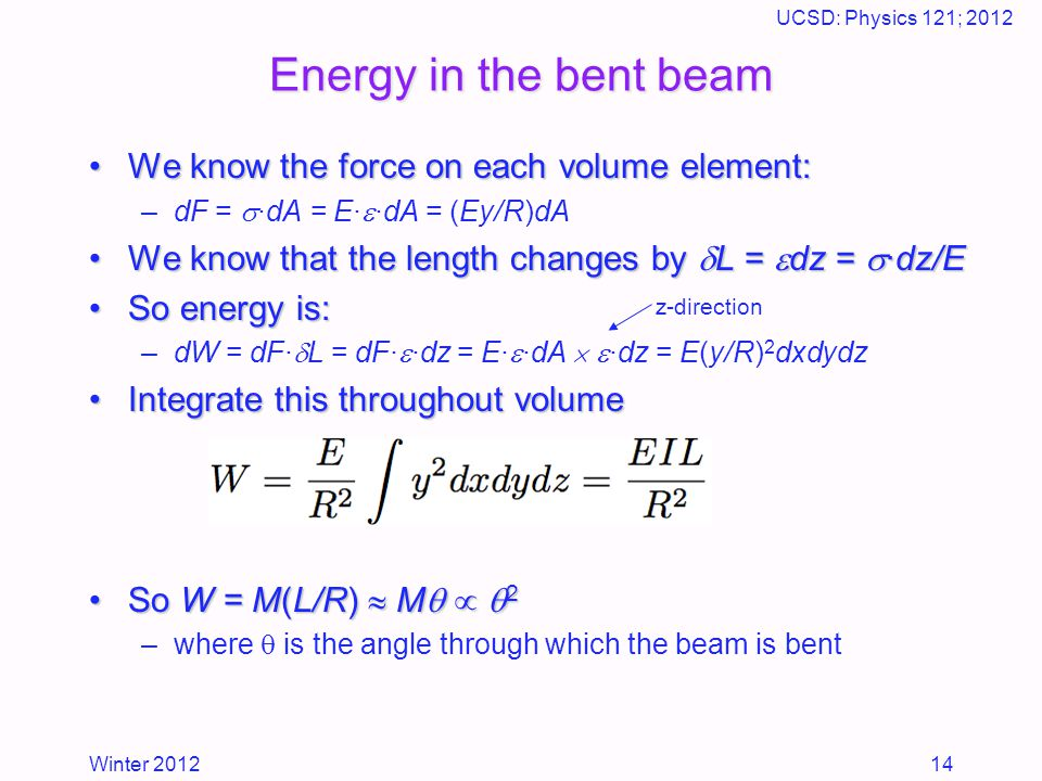 Winter 2012 UCSD: Physics 121; 2012 14 Energy in the bent beam We know the force on each volume element:We know the force on each volume element: –dF =  ·dA = E·  ·dA = (Ey/R)dA We know that the length changes by  L =  dz =  ·dz/EWe know that the length changes by  L =  dz =  ·dz/E So energy is:So energy is: –dW = dF·  L = dF·  ·dz = E·  ·dA   ·dz = E(y/R) 2 dxdydz Integrate this throughout volumeIntegrate this throughout volume So W = M(L/R)  M    2So W = M(L/R)  M    2 –where  is the angle through which the beam is bent z-direction