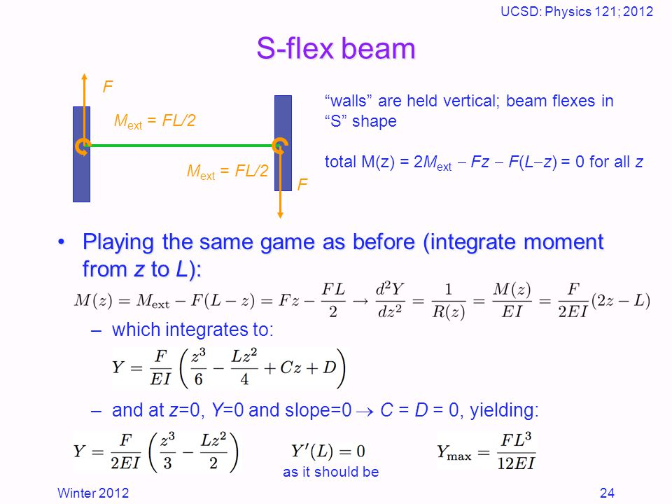 Winter 2012 UCSD: Physics 121; 2012 24 S-flex beam Playing the same game as before (integrate moment from z to L):Playing the same game as before (integrate moment from z to L): –which integrates to: –and at z=0, Y=0 and slope=0  C = D = 0, yielding: F F M ext = FL/2 walls are held vertical; beam flexes in S shape total M(z) = 2M ext  Fz  F(L  z) = 0 for all z as it should be