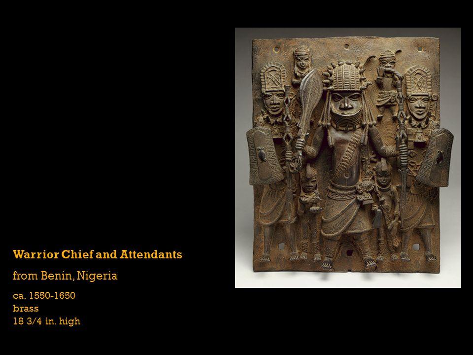 Warrior Chief and Attendants from Benin, Nigeria ca. 1550-1650 brass 18 3/4 in. high