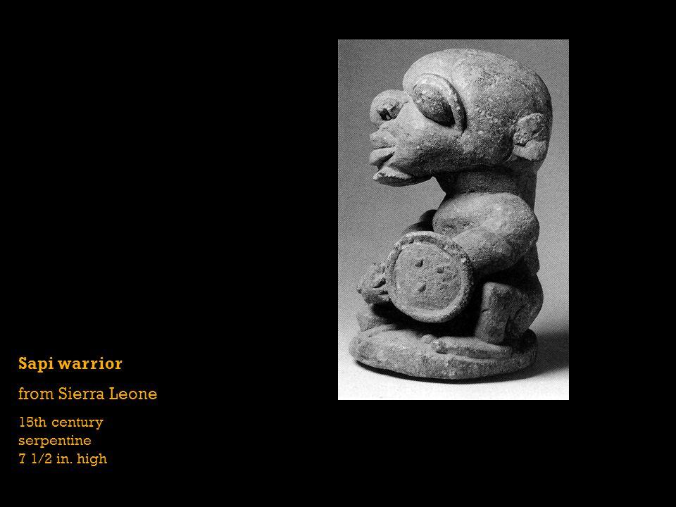 Sapi warrior from Sierra Leone 15th century serpentine 7 1/2 in. high