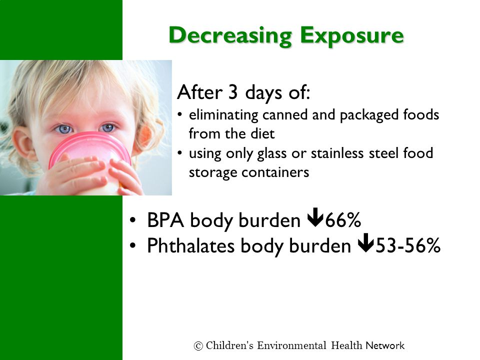 Decreasing Exposure After 3 days of: eliminating canned and packaged foods from the diet using only glass or stainless steel food storage containers BPA body burden  66% Phthalates body burden  53-56% © Children s Environmental Health Network