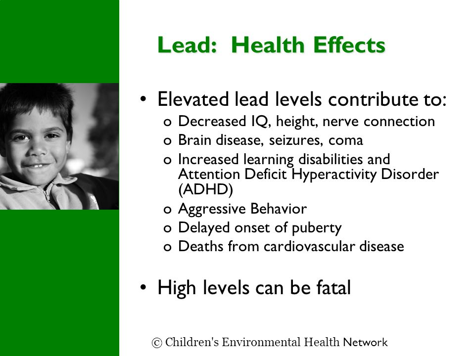 Lead: Health Effects Elevated lead levels contribute to: oDecreased IQ, height, nerve connection oBrain disease, seizures, coma oIncreased learning disabilities and Attention Deficit Hyperactivity Disorder (ADHD) oAggressive Behavior oDelayed onset of puberty oDeaths from cardiovascular disease High levels can be fatal © Children s Environmental Health Network