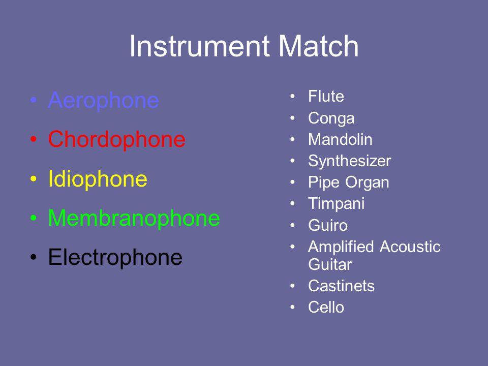 Instrument Match Aerophone Chordophone Idiophone Membranophone Electrophone Flute Conga Mandolin Synthesizer Pipe Organ Timpani Guiro Amplified Acoust