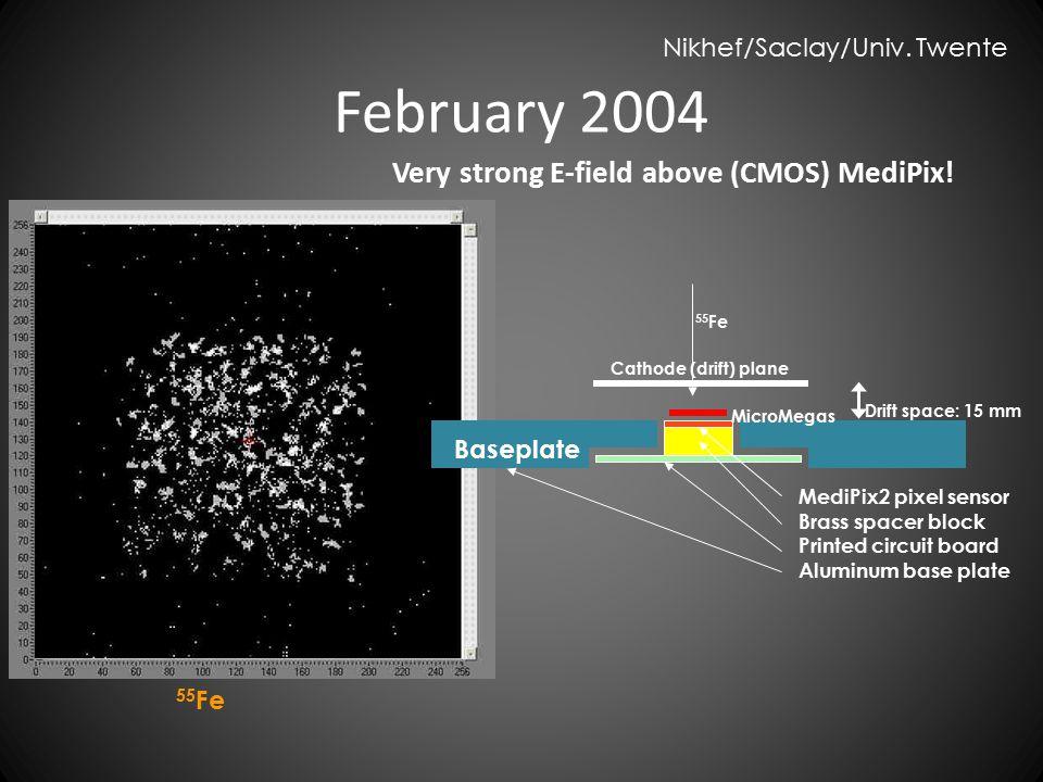 Very strong E-field above (CMOS) MediPix! MediPix2 pixel sensor Brass spacer block Printed circuit board Aluminum base plate MicroMegas Cathode (drift