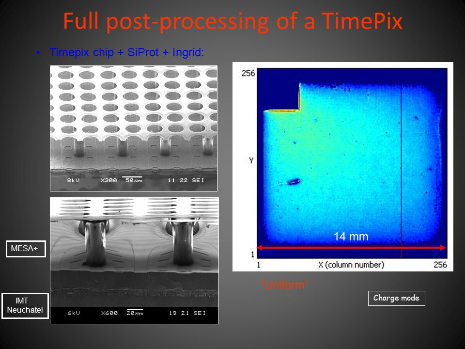 """Full post-processing of a TimePix Timepix chip + SiProt + Ingrid: """"Uniform"""" MESA+ IMT Neuchatel Charge mode 14 mm"""