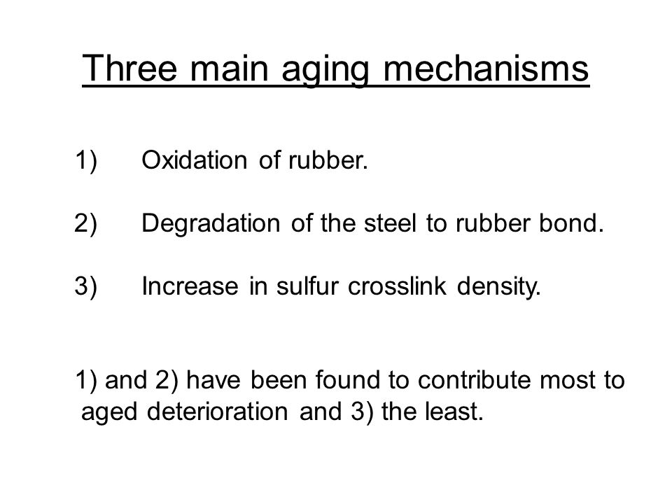 Time vs.tread wear 1)Oxidation of rubber. 2)Degradation of the steel to rubber bond.