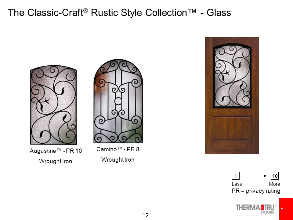 12 Camino™ - PR 8 Wrought Iron Augustine™ - PR 10 Wrought Iron The Classic-Craft ® Rustic Style Collection™ - Glass PR = privacy rating 110 LessMore
