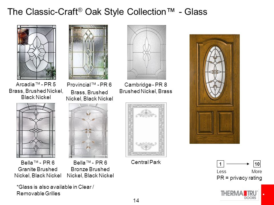 14 Cambridge - PR 8 Brushed Nickel, Brass Arcadia™ - PR 5 Brass, Brushed Nickel, Black Nickel Provincial™ - PR 6 Brass, Brushed Nickel, Black Nickel The Classic-Craft ® Oak Style Collection™ - Glass *Glass is also available in Clear / Removable Grilles Bella™ - PR 6 Granite Brushed Nickel, Black Nickel Bella™ - PR 6 Bronze Brushed Nickel, Black Nickel PR = privacy rating 110 LessMore Central Park