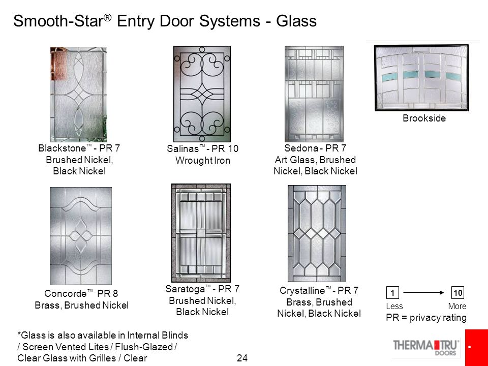 24 Crystalline ™ - PR 7 Brass, Brushed Nickel, Black Nickel Concorde ™ - PR 8 Brass, Brushed Nickel Sedona - PR 7 Art Glass, Brushed Nickel, Black Nickel Blackstone ™ - PR 7 Brushed Nickel, Black Nickel Salinas ™ - PR 10 Wrought Iron Smooth-Star ® Entry Door Systems - Glass Saratoga ™ - PR 7 Brushed Nickel, Black Nickel PR = privacy rating 110 LessMore *Glass is also available in Internal Blinds / Screen Vented Lites / Flush-Glazed / Clear Glass with Grilles / Clear Brookside