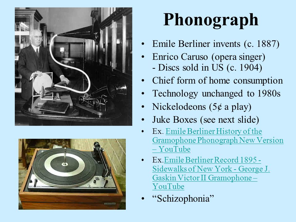 Phonograph Emile Berliner invents (c. 1887) Enrico Caruso (opera singer) - Discs sold in US (c.