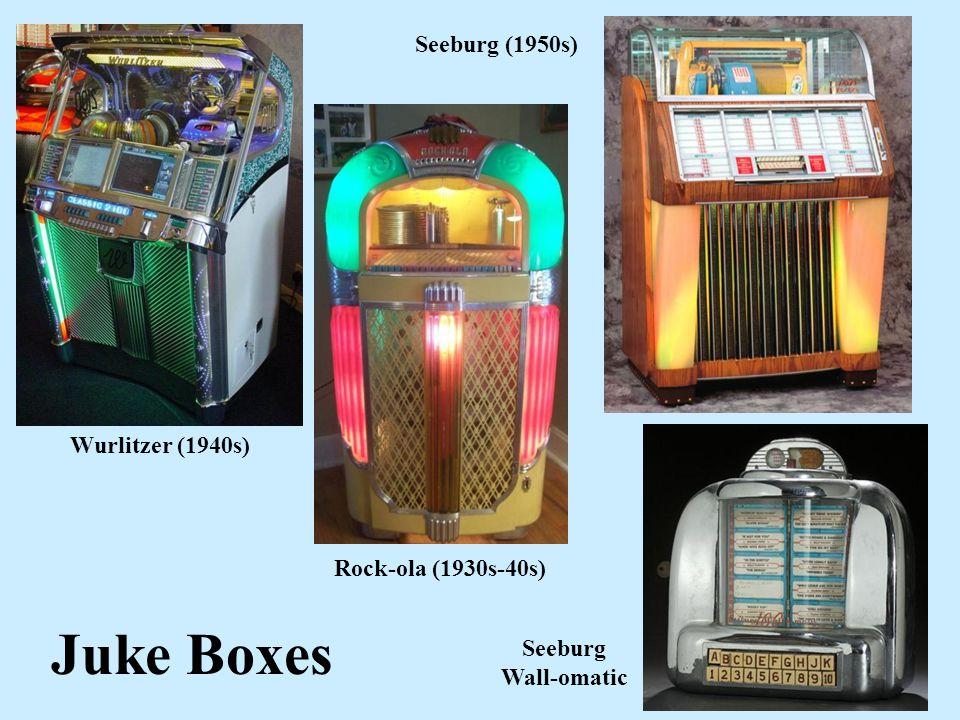 Juke Boxes Wurlitzer (1940s) Rock-ola (1930s-40s) Seeburg (1950s) Seeburg Wall-omatic