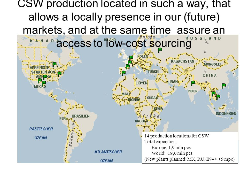 14 production locations for CSW Total capacities: Europe: 1,9 mln pcs World: 19,0 mln pcs (New plants planned: MX, RU, IN=> >5 mpc) CSW production loc