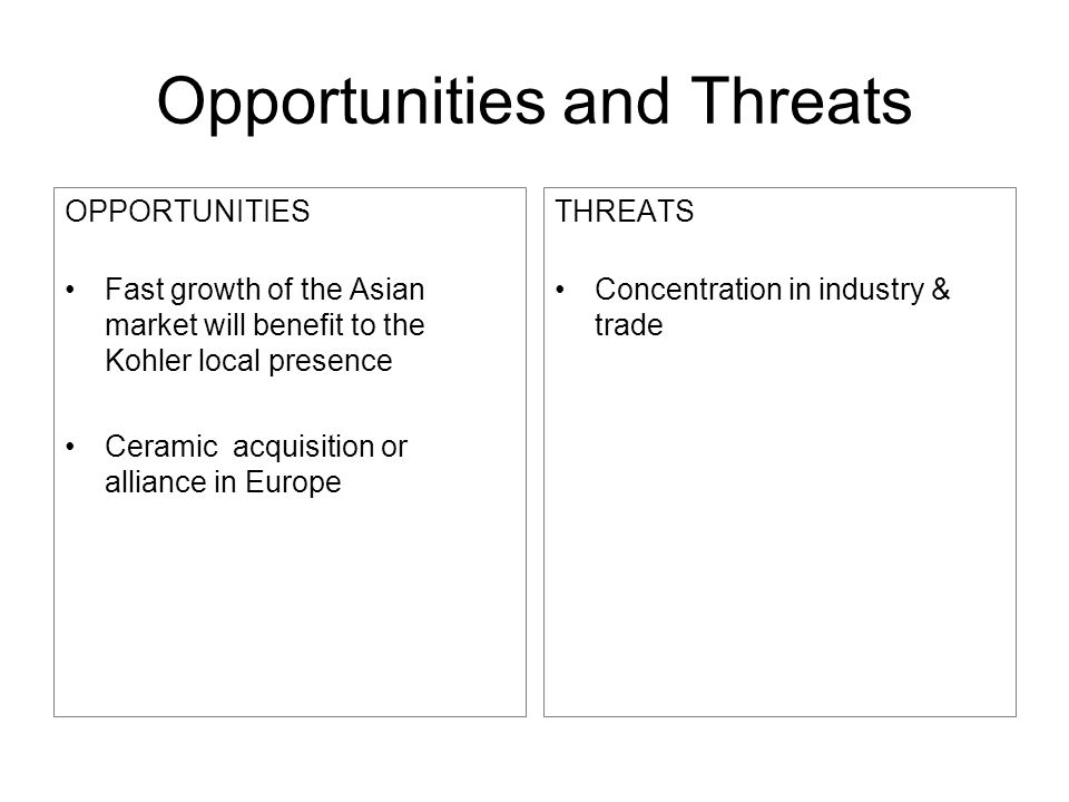 Opportunities and Threats OPPORTUNITIES Fast growth of the Asian market will benefit to the Kohler local presence Ceramic acquisition or alliance in E