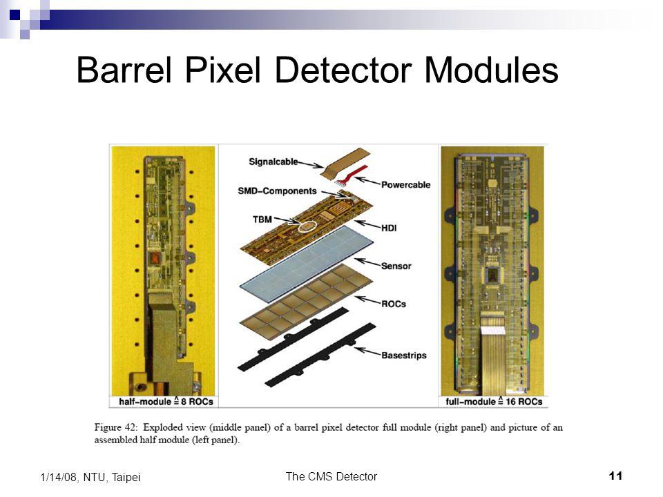 The CMS Detector11 1/14/08, NTU, Taipei Barrel Pixel Detector Modules