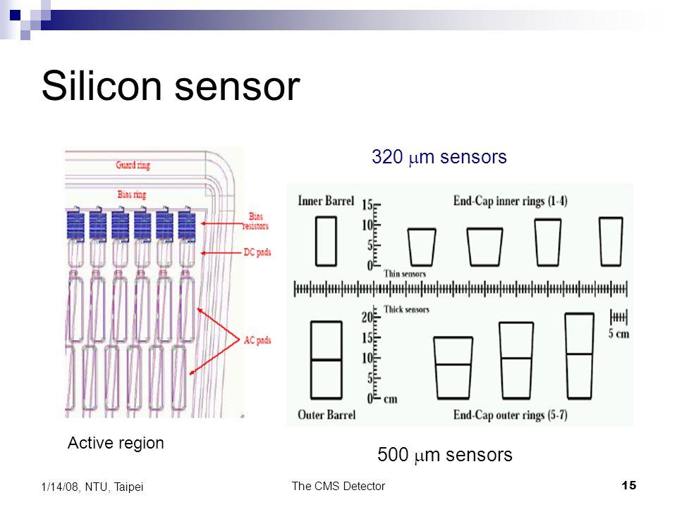 The CMS Detector15 1/14/08, NTU, Taipei Silicon sensor Active region 320  m sensors 500  m sensors