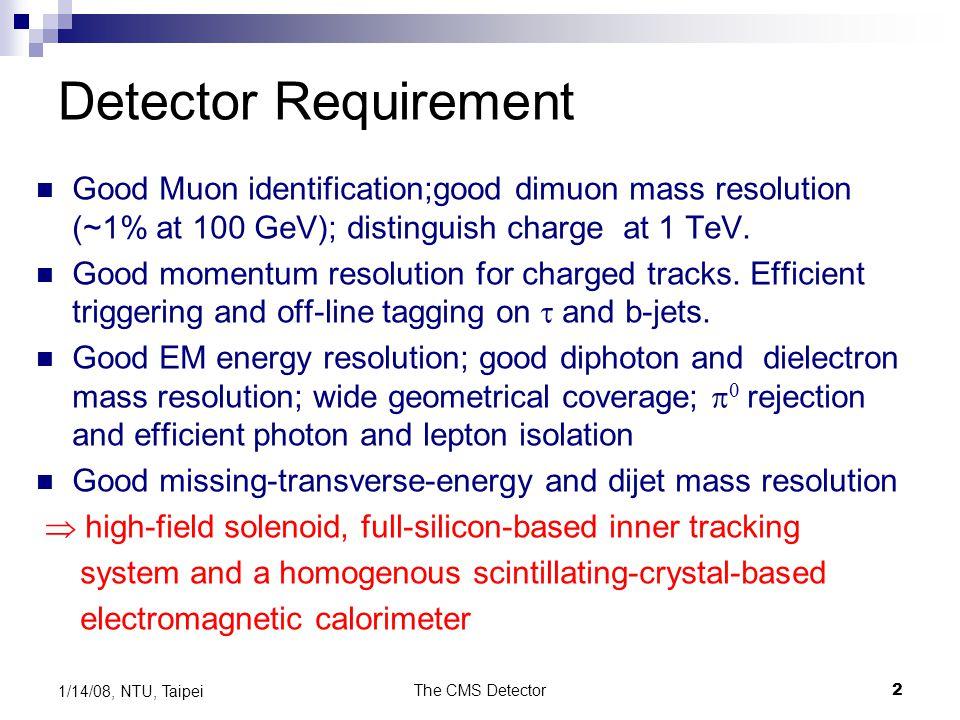 The CMS Detector2 1/14/08, NTU, Taipei Detector Requirement Good Muon identification;good dimuon mass resolution (~1% at 100 GeV); distinguish charge