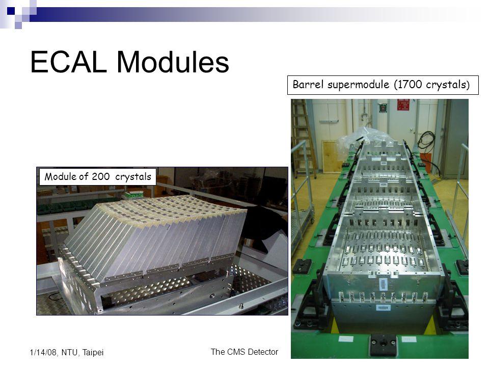 The CMS Detector23 1/14/08, NTU, Taipei ECAL Modules Module of 200 crystals Barrel supermodule (1700 crystals )