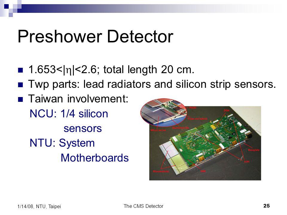 The CMS Detector25 1/14/08, NTU, Taipei Preshower Detector 1.653<|  |<2.6; total length 20 cm. Twp parts: lead radiators and silicon strip sensors. T