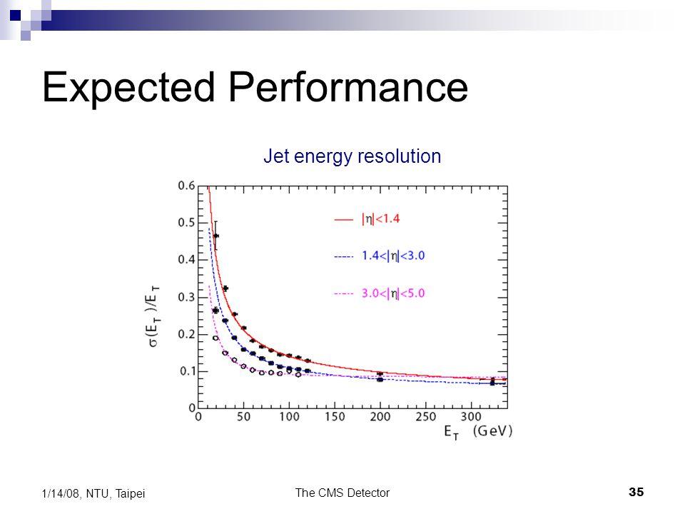 The CMS Detector35 1/14/08, NTU, Taipei Expected Performance Jet energy resolution