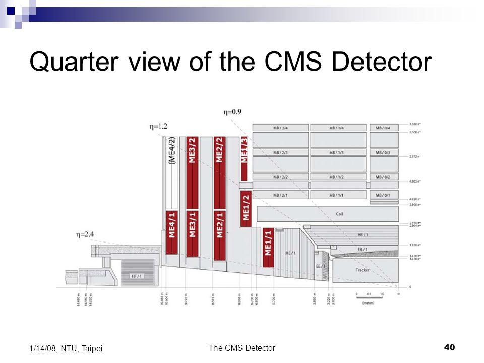 The CMS Detector40 1/14/08, NTU, Taipei Quarter view of the CMS Detector