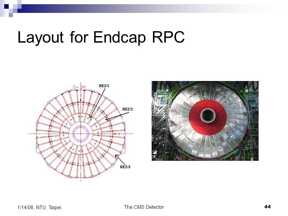 The CMS Detector44 1/14/08, NTU, Taipei Layout for Endcap RPC