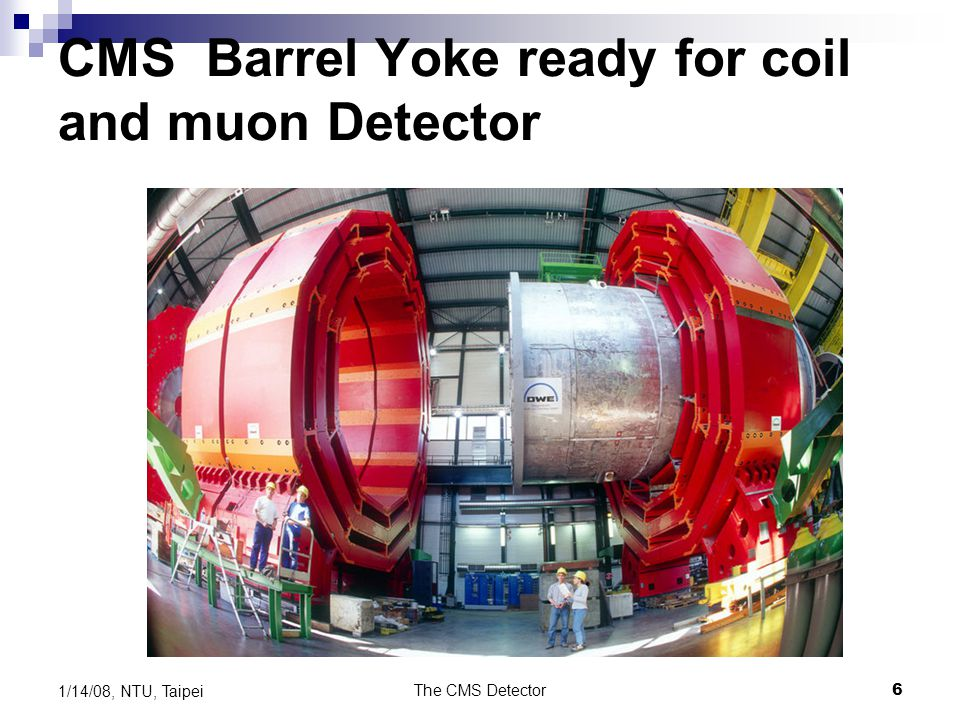 The CMS Detector6 1/14/08, NTU, Taipei CMS Barrel Yoke ready for coil and muon Detector