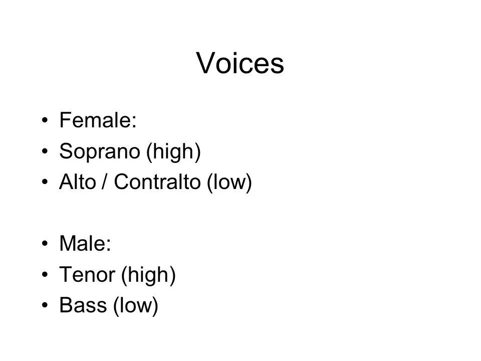 Voices Female: Soprano (high) Alto / Contralto (low) Male: Tenor (high) Bass (low)