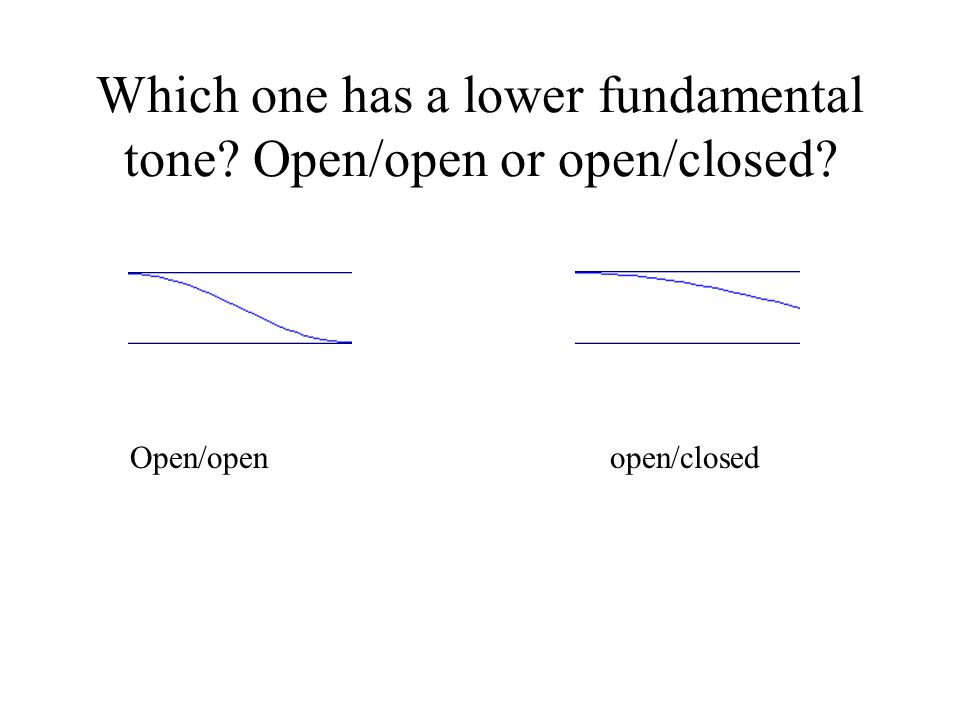 Which one has a lower fundamental tone? Open/open or open/closed? Open/open open/closed