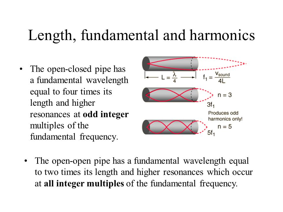 Length, fundamental and harmonics The open-closed pipe has a fundamental wavelength equal to four times its length and higher resonances at odd integer multiples of the fundamental frequency.
