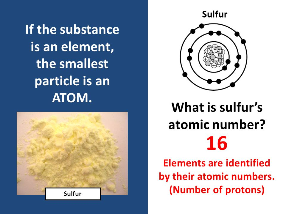 If the substance is an element, the smallest particle is an ATOM.