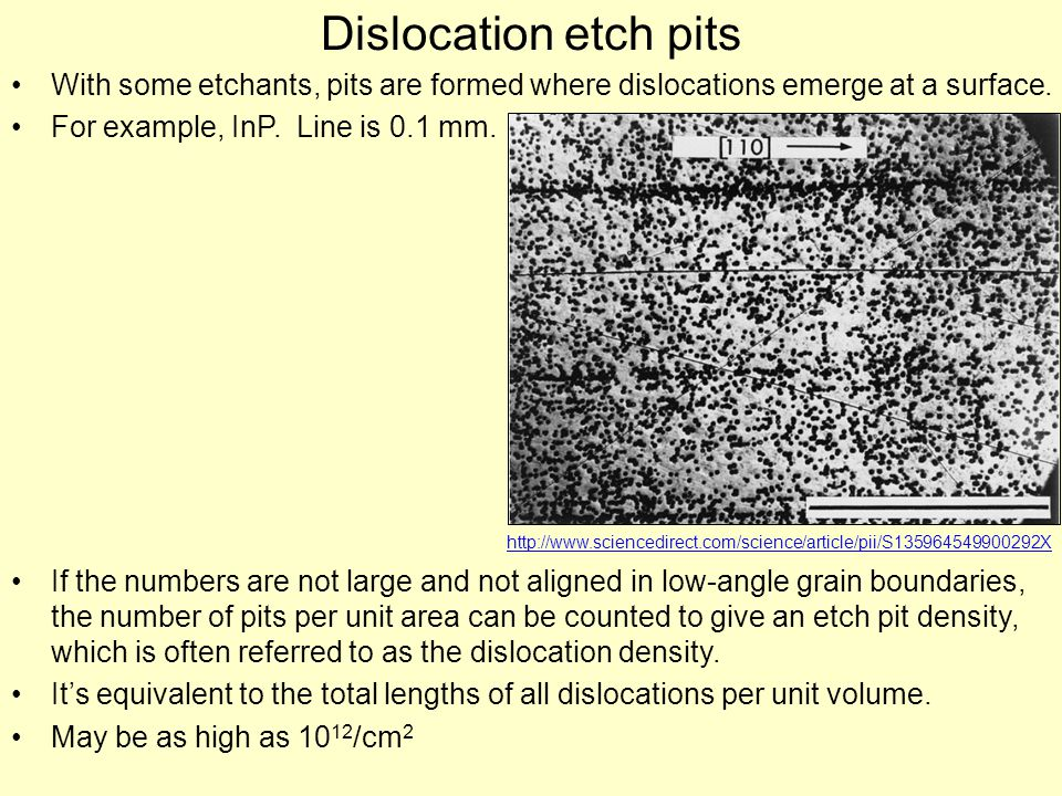 Dislocation etch pits With some etchants, pits are formed where dislocations emerge at a surface.