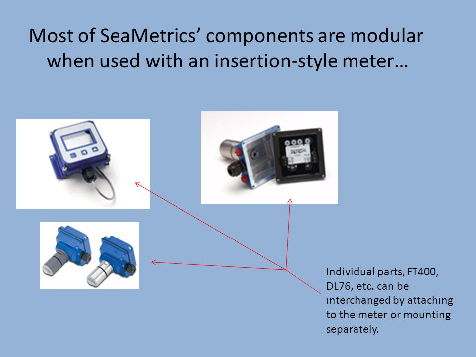 Most of SeaMetrics' components are modular when used with an insertion-style meter… Individual parts, FT400, DL76, etc.