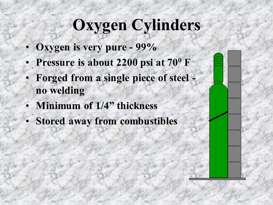 Oxygen Cylinders Oxygen is very pure - 99% Pressure is about 2200 psi at 70 0 F Forged from a single piece of steel - no welding Minimum of 1/4 thickness Stored away from combustibles