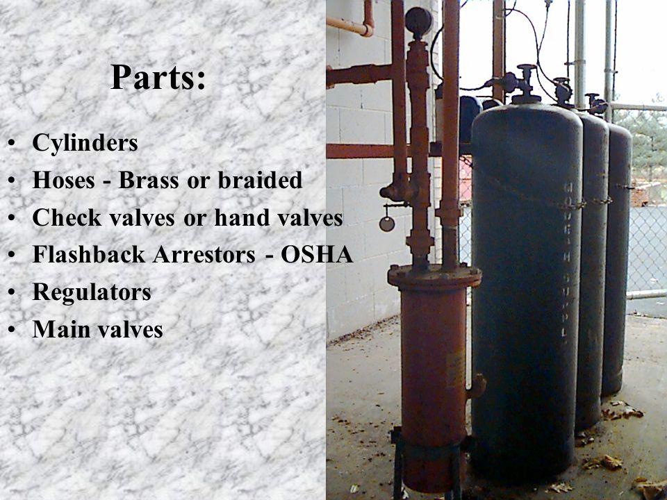 Parts: Cylinders Hoses - Brass or braided Check valves or hand valves Flashback Arrestors - OSHA Regulators Main valves